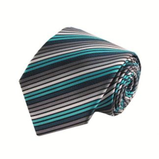 "63"" XL Turquoise & Charcoal Stripe Men's Tie 4926-0"