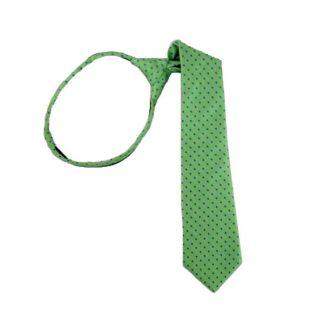 """14"""" Blue Dot on Green Boy's Zipper Tie 5365"""