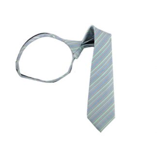 "11"" Mint, Turquoise & Gray Stripe Boy's Zipper Tie 7012"