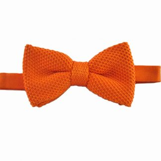 Orange Solid Knit Banded Bow Tie 7482-0