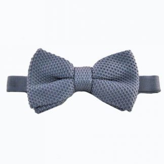 Gray Solid Knit Banded Bow Tie 9122-0