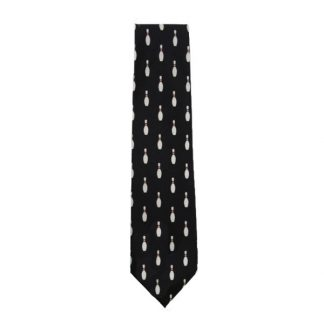 Black Bowling Pins Men's Tie 4865