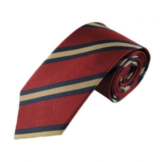 Burgundy, Navy & Gold Stripe Men's Silk Tie 8341