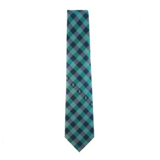 MLB, Seattle, Mariners, Northwest Green, Navy, Blue, &, Silver, Checkered, Men's, Tie, 8965