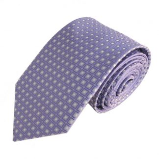 Lavender & Silver Small Square Pattern Men's Tie 11154