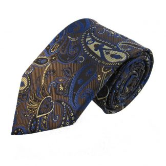 Brown, Cream & Royal Paisley Men's Tie w/ Pocket Square 4822
