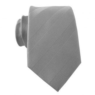 Silver Tone on Tone Stripe Men's Skinny Tie & Pocket Square 5126