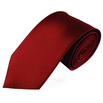 "63"" XL Red Solid Silk Men's Tie 5179"