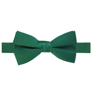 Solid Emerald Green Banded Bow Tie 6288