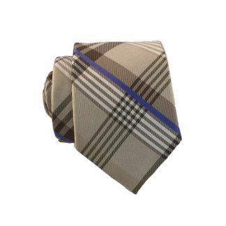 Tan, Light Blue Plaid Skinny Men's Tie w/Pocket Square