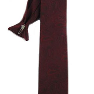 "21"" Clip-On Burgundy Paisley Tone on Tone Men's Tie 9791-0"