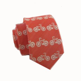 Coral, Cream Bicycle Print Skinny Men's Tie 4555-0