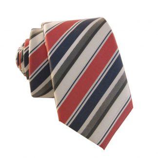 Gray, White & Salmon Stripe Men's Skinny Tie 4192