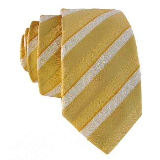 Gold & Cream Stripe Patterned Stripe Men's Tie 4191