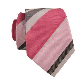 Pink & Silver Stripe Skinny Men's Tie w/ Pocket Square 10184