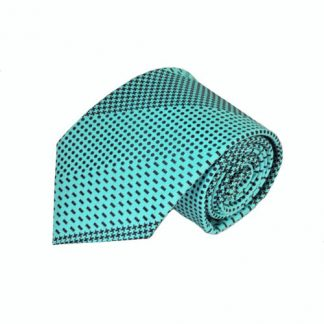 Turquoise & Black Pattern Stripe Men's Tie w/Pocket Square 10194-0