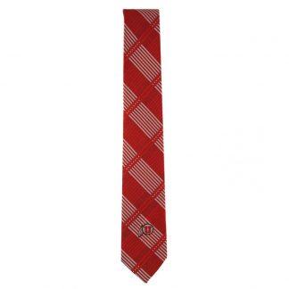 University of Utah Crimson Red & Silver Plaid Skinny Men's Tie 10637