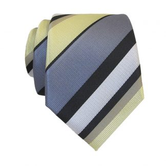 Light Yellow & Gray Stripe Skinny Men's Tie w/ Pocket Square 10887