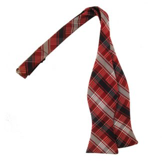 Red Gray & Navy Plaid Self Tie Bow Tie 1097