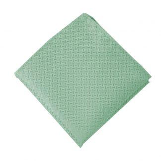 Mint Tone on Tone Basket Weave Pocket Square 11164