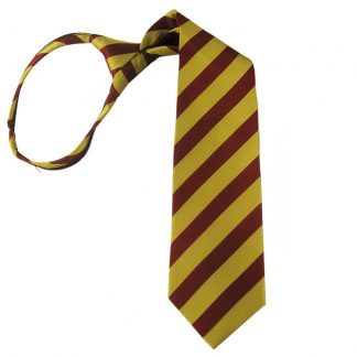 "14"" Gold & Burgundy Stripe Zipper Tie 1723"