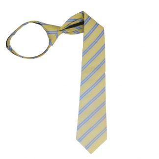 "17"" Light Yellow & Blue Stripe Zipper Tie 2357"