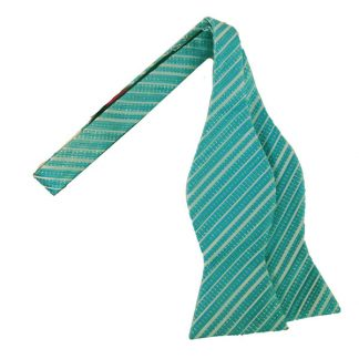 Blue & Shimmer Stripe Self Tie Bow Tie 3033