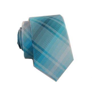 Aqua, Teal Plaid Skinny Men's Tie 4189