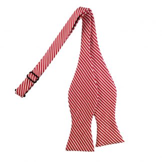 Red & White Stripe Self Tie Bow Tie 4637