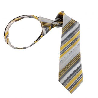 "11"" Boy's Yellow Gray & White Striped Zipper Tie 4930"