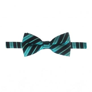 Teal & Black Banded Bow Tie 5937