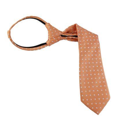 "11"" Boy's White Dot on Orange Zipper Tie 6045"