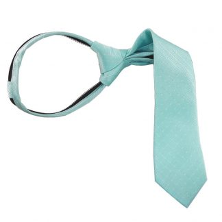 "11"" Boy's White Dot on Aqua Tone on Tone Zipper Tie 6049"