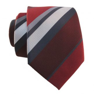 Burgundy & Gray Stripe Skinny Men's Tie w/ Pocket Square 8282