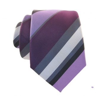 Lavender & Silver Stripe Skinny Men's Tie w/ Pocket Square 9584
