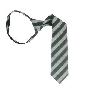 "14"" Green and Silver Striped Boy's Zipper Tie 973"