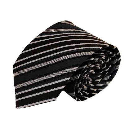 Black Gray & White Stripe Men's Tie 10362