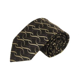 Brown, Taupe Twist Pattern Men's Tie