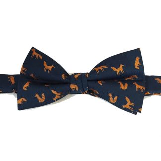 Orange, Navy Fox Print Bow Tie 3017-0