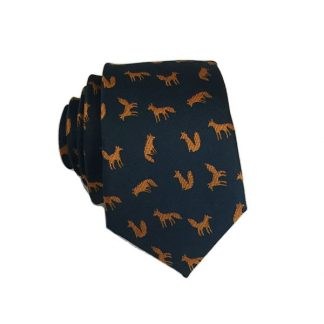 Orange, Navy Fox Print Skinny Men's Tie 8071-0