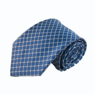 French Blue, SIlver Diamonds Men's Tie