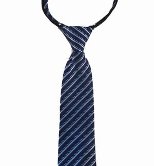 "11"" Boys Navy, Blue Stripe Zipper Tie"