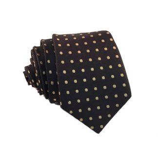 Brown, Taupe Polka Dot Skinny Men's Tie
