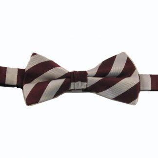 Burgundy and Silver Striped Banded Bow Tie