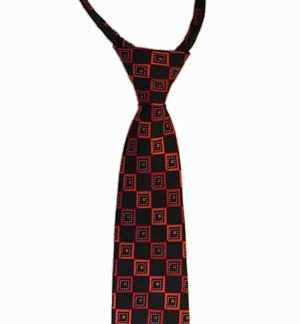 "11"" Boy's Red, Black Squares Zipper Tie 4086-0"