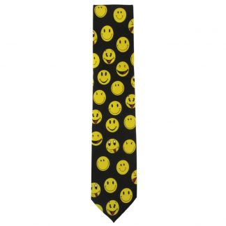 Smiley Faces on Black Men's Tie 6727