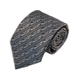 Gray, Silver Aztec Floral Stripe Men's Tie