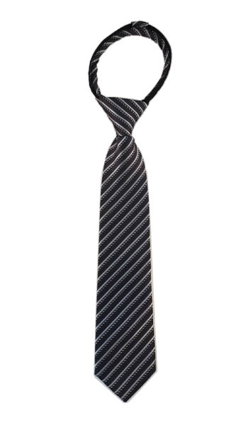 "14"" Boy's Charcoal, Gray Stripe Zipper Boy's Tie"