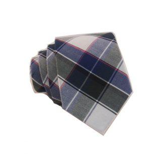 Blue, Hunter Green & White Plaid Cotton Skinny Men's Tie 10019-0
