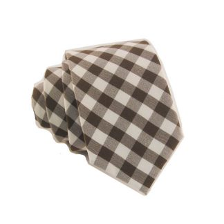 Brown and Cream Gingham Pattern Skinny Men's Tie 10267-0